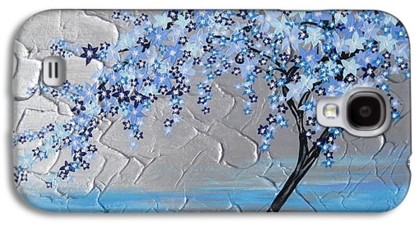 Cherry Blossoms Mixed Media Galaxy S4 Cases - Ice Blue Cherry Blossom Galaxy S4 Case by Cathy Jacobs