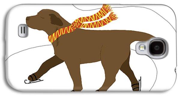 Chocolate Lab Digital Art Galaxy S4 Cases - Ice Skating Chocolate Labrador Dog Galaxy S4 Case by Amy Reges