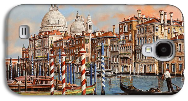 Night Lamp Paintings Galaxy S4 Cases - Il Canal Grande Galaxy S4 Case by Guido Borelli