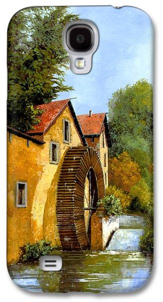 Waterfalls Paintings Galaxy S4 Cases - Il Mulino Ad Acqua Galaxy S4 Case by Guido Borelli