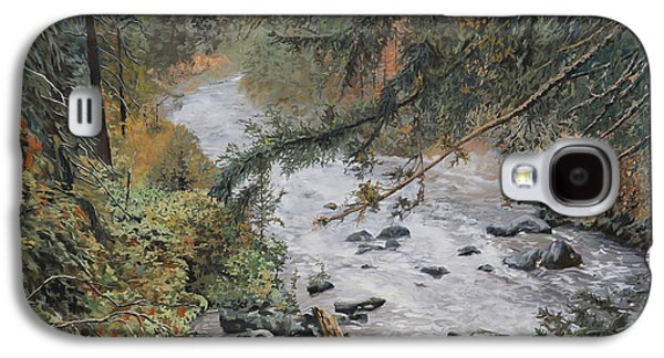 Stones Paintings Galaxy S4 Cases - Il Ruscello Di Montagna Galaxy S4 Case by Guido Borelli