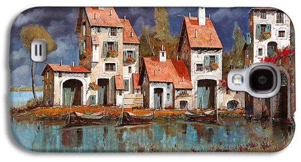 Morning Light Paintings Galaxy S4 Cases - Il Villaggio Sul Lago Galaxy S4 Case by Guido Borelli