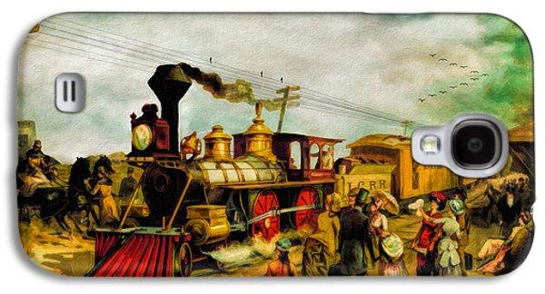 Illinois Print Digital Galaxy S4 Cases - Illinois Central Railroad 1882 Galaxy S4 Case by Lianne Schneider