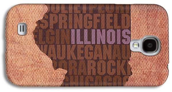 Illinois State Word Art On Canvas Galaxy S4 Case by Design Turnpike