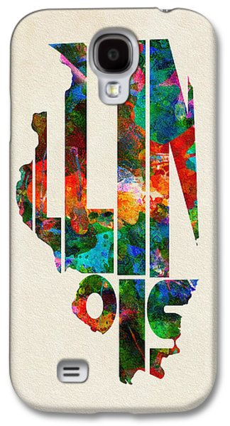 Illinois Print Digital Art Galaxy S4 Cases - Illinois Typographic Watercolor Map Galaxy S4 Case by Ayse Deniz