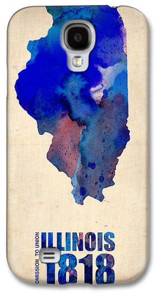 Universities Digital Art Galaxy S4 Cases - Illinois Watercolor Map Galaxy S4 Case by Naxart Studio