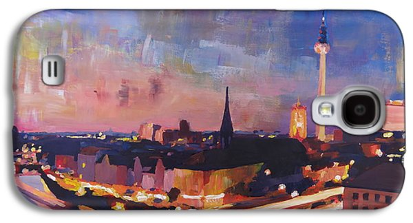 Berlin Germany Paintings Galaxy S4 Cases - Illuminated Berlin Skyline at Dusk  Galaxy S4 Case by M Bleichner