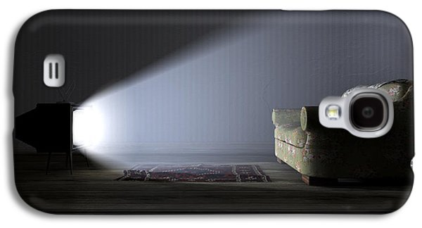 Flooring Galaxy S4 Cases - Illuminated Television And Lonely Old Couch Galaxy S4 Case by Allan Swart
