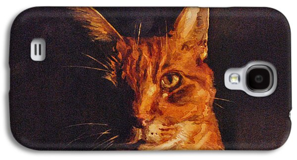 Orange Tabby Paintings Galaxy S4 Cases - Illumination Galaxy S4 Case by Spencer Meagher