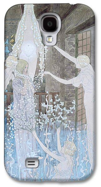 Religious Drawings Galaxy S4 Cases - Illustation from Le Reve Galaxy S4 Case by Carlos Schwabe