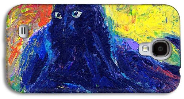 Green Drawings Galaxy S4 Cases - Impasto Black Cat painting Galaxy S4 Case by Svetlana Novikova