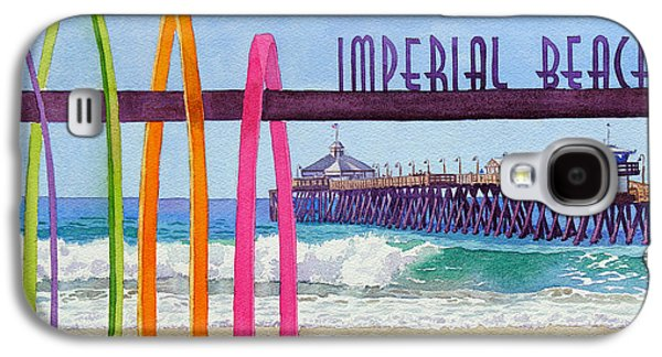 Town Paintings Galaxy S4 Cases - Imperial Beach Pier California Galaxy S4 Case by Mary Helmreich