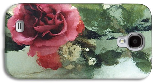 Abstract Digital Art Galaxy S4 Cases - Impressionistic Abstract Green and Pink Rose Galaxy S4 Case by Kathy Fornal