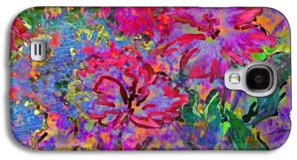 Splashy Digital Art Galaxy S4 Cases - Impressionistic Magenta Hibiscus - Horizontal Galaxy S4 Case by Lyn Voytershark