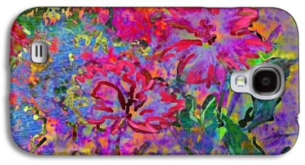 Splashy Digital Art Galaxy S4 Cases - Impressionistic Magenta Hibiscus - Square Galaxy S4 Case by Lyn Voytershark