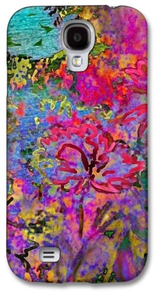 Splashy Digital Art Galaxy S4 Cases - Impressionistic Magenta Hibiscus - Vertical Galaxy S4 Case by Lyn Voytershark