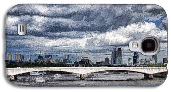 Turbulent Skies Digital Art Galaxy S4 Cases - Impressions of London - Stormy Skies Skyline Galaxy S4 Case by Georgia Mizuleva