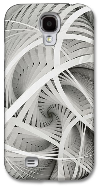 Dimensional Galaxy S4 Cases - In Betweens-White Fractal Spiral Galaxy S4 Case by Karin Kuhlmann