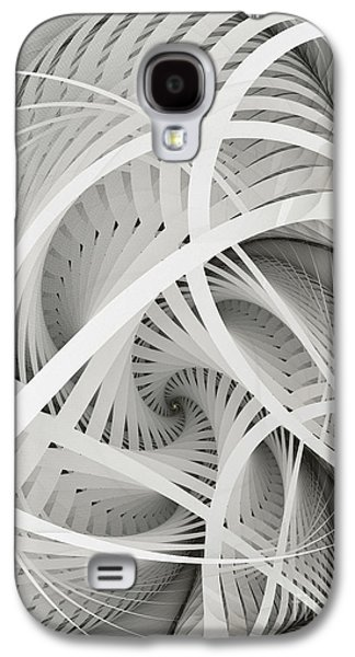 Fractal Image Galaxy S4 Cases - In Betweens-White Fractal Spiral Galaxy S4 Case by Karin Kuhlmann