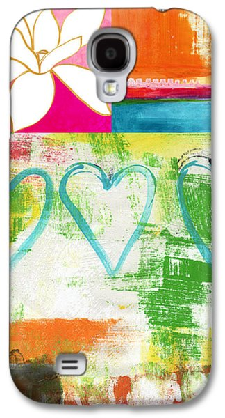 Nature Abstracts Mixed Media Galaxy S4 Cases - In Bloom- colorful heart and flower art Galaxy S4 Case by Linda Woods