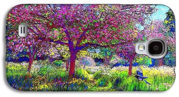 Field Paintings Galaxy S4 Cases - In Love with Spring Galaxy S4 Case by Jane Small