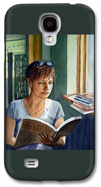 Watercolor Paintings Galaxy S4 Cases - In The Book Store Galaxy S4 Case by Irina Sztukowski
