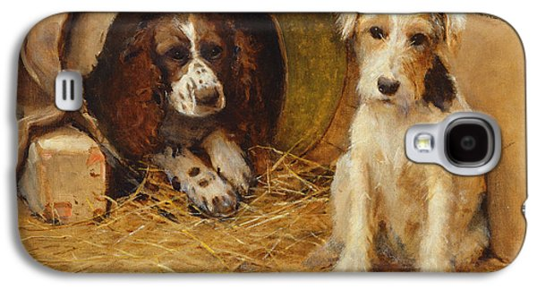 Hay Paintings Galaxy S4 Cases - In the Dog House Galaxy S4 Case by Samuel Fulton