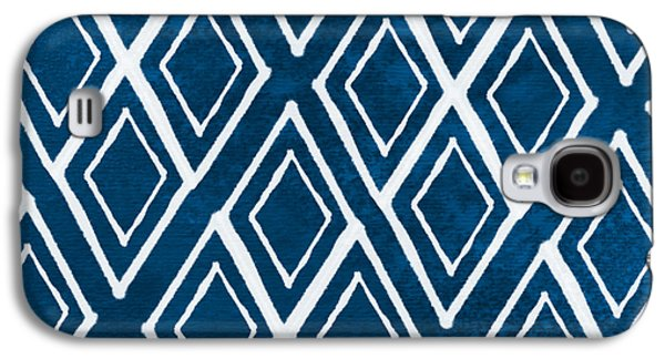 Ties Galaxy S4 Cases - Indgo and White Diamonds Large Galaxy S4 Case by Linda Woods