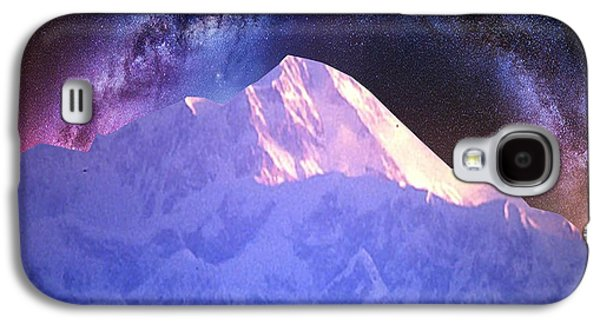 Abstract Digital Mixed Media Galaxy S4 Cases - India Nepal Himalaya Mountain ranges snow sparkle milky white presentation obtained through digital  Galaxy S4 Case by Navin Joshi