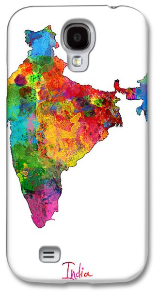 Maps - Galaxy S4 Cases - India Watercolor Map Galaxy S4 Case by Michael Tompsett