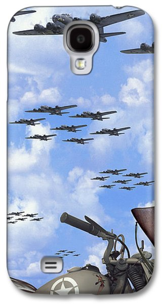 Vertical Digital Art Galaxy S4 Cases - Indian 841 and the B-17 Panoramic Galaxy S4 Case by Mike McGlothlen