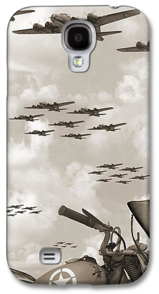 Vertical Digital Art Galaxy S4 Cases - Indian 841 And The B-17 Panoramic Sepia Galaxy S4 Case by Mike McGlothlen