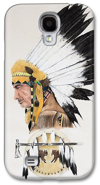 Earth Tones Drawings Galaxy S4 Cases - Indian Chief contemplating Galaxy S4 Case by Joe Lisowski