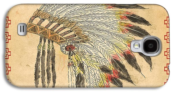 Indian Head Dress-a Galaxy S4 Case by Jean Plout