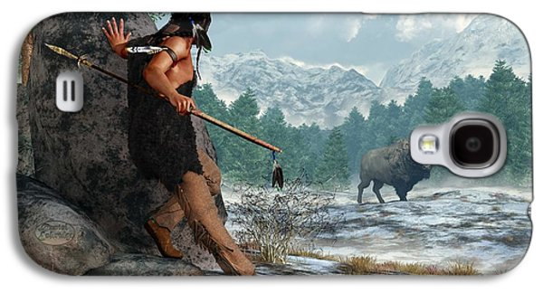 Bison Digital Art Galaxy S4 Cases - Indian Hunting with Atlatl Galaxy S4 Case by Daniel Eskridge