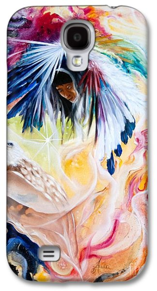 Native American Spirit Portrait Paintings Galaxy S4 Cases - Native american Indian Spirit  Galaxy S4 Case by  ILONA ANITA TIGGES - GOETZE  ART and Photography