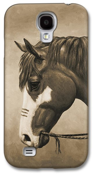 Chestnut Horse Galaxy S4 Cases - Indian Pony War Horse Sepia Phone Case Galaxy S4 Case by Crista Forest