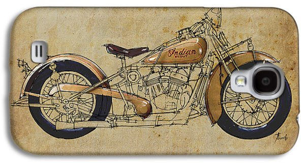 Indian Ink Galaxy S4 Cases - Indian Scout 1932 Galaxy S4 Case by Pablo Franchi