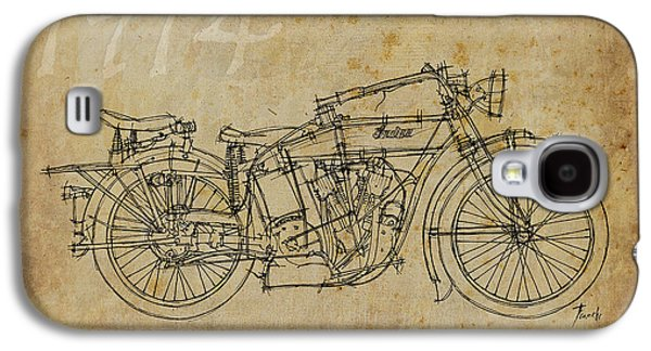 Indian Ink Galaxy S4 Cases - Indian V-twin 1914 Galaxy S4 Case by Pablo Franchi