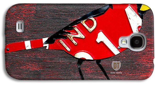Indiana Art Galaxy S4 Cases - Indiana Cardinal Bird Recycled Vintage License Plate Art Galaxy S4 Case by Design Turnpike