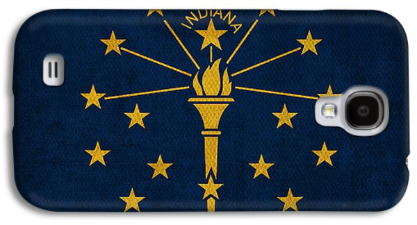 Indiana State Flag Art On Worn Canvas Galaxy S4 Case by Design Turnpike