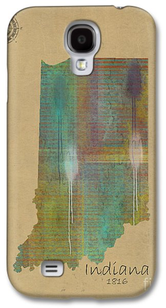 Maps Paintings Galaxy S4 Cases - Indiana State Map  Galaxy S4 Case by Bri Buckley