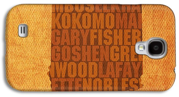 Indiana Art Galaxy S4 Cases - Indiana State Word Art on Canvas Galaxy S4 Case by Design Turnpike
