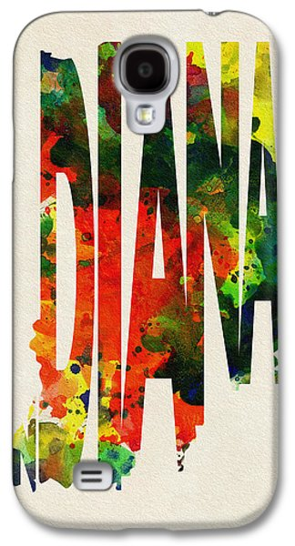 Indiana Art Galaxy S4 Cases - Indiana Typographic Watercolor Map Galaxy S4 Case by Ayse Deniz