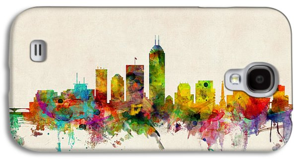 City Digital Art Galaxy S4 Cases - Indianapolis Indiana Skyline Galaxy S4 Case by Michael Tompsett