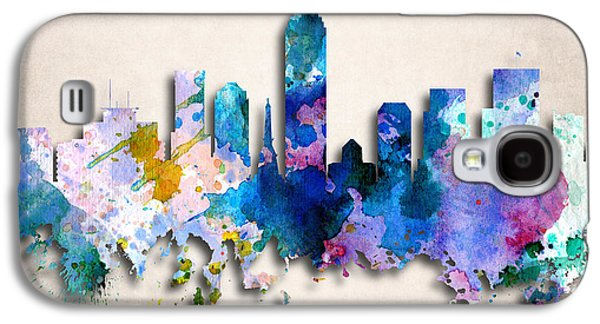 Indiana Art Galaxy S4 Cases - Indianapolis Painted City Skyline Galaxy S4 Case by World Art Prints And Designs