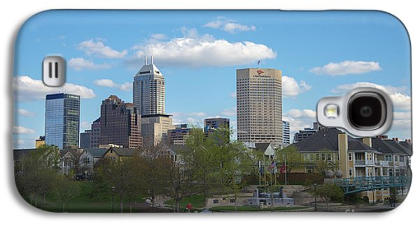 Indiana Scenes Galaxy S4 Cases - Indianapolis Skyline Blue 2 Galaxy S4 Case by David Haskett