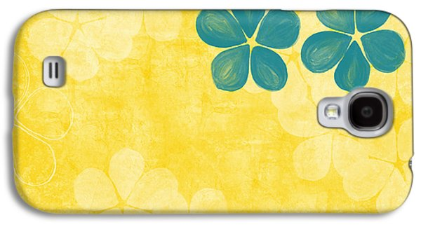 Floral Abstract Galaxy S4 Cases - Indigo and Yellow Flowers Galaxy S4 Case by Linda Woods