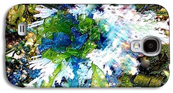 Cheer On Galaxy S4 Cases - Indigo Blue Green Festive Holiday Galaxy S4 Case by Janine Riley