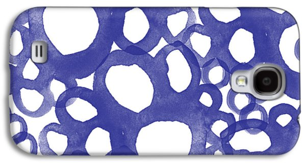 Studio Mixed Media Galaxy S4 Cases - Indigo Bubbles- Contemporary Absrtract Watercolor Galaxy S4 Case by Linda Woods